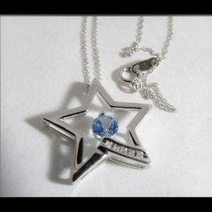 White gold Topaz/diamonds Star necklace